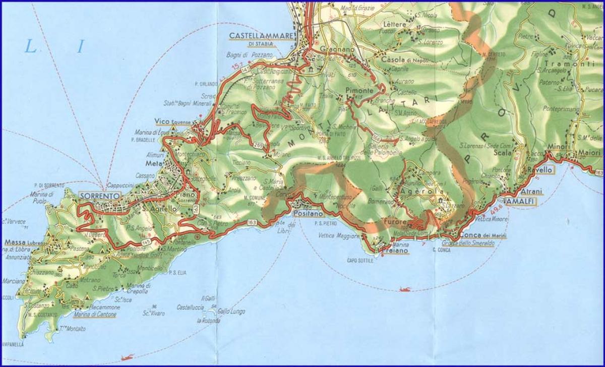 Tour Costiera Amalfitana Cartina.Cai Arzignano Costa Amalfitana Trek